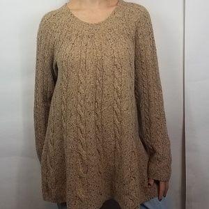 J. Jill tan chunky wool cable knit sweater small